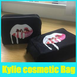Wholesale Pillow Kits - Kylie Jenner black Makeup Bag Birthday Collection Makeup Bag Kylie Lip Kit Bag High Quality Free Shipping