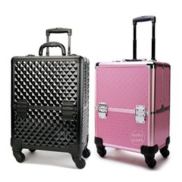 Wholesale Cosmetic Beauty Case Trolley - 2017 Cosmetic Case Professional Caster Trolley Multilayer Cosmetic bag Makeup Artist Beauty Tool Storage Box Large Nail Case 40Z