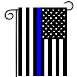 Wholesale Police Supplies - Stripes Flag USA Police Garden Flags Blue Line Thin Black White And Blue American US Home Party Decoration Festive Supplies Banner