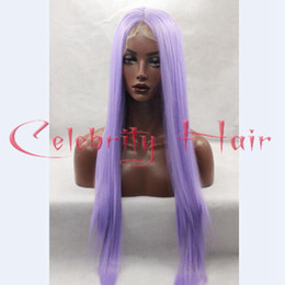 Wholesale Cosplay Purple Straight Wig - Long Purple Wig Cosplay Manga Gin Tama-Sarutobi Ayame Pure color Synthetic Heat resistant Light Purple Lace Front Synthetic wigs