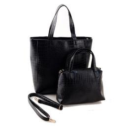 Wholesale Crocodile Leather Big Bag - Wholesale- Luxury Black Casual Large Women Shoulder Bags Set 2pc Crocodile PU Leather Women messenger bags Big Female Bags Tote sac a main