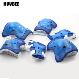 Wholesale Kids Skating Pads - Wholesale- KUUBEE 6 in 1 Skating Cycling Roller Skating Protection Set Kids Knee Elbow Wrist Protective Pads Sport Protective Gear