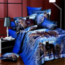 Wholesale Wolf Bedding Sets Twin - Wholesale-3D Bedclothes Wolf Leopard Tiger Lion Panda Flower 4pcs Bedding Sets King Or Queen Reactive Print