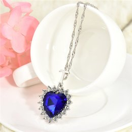 Wholesale Titanic Gifts Free Shipping - Fashion Women Lady Heart Of Ocean Titanic Blue Crystal Pendant Elegant Necklace for mon girlfriend gift free shipping