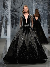 Wholesale Wedding Gowns Couture - black full embellishment crystals long sleeves pockets ball gown wedding dresses 2018 ziad nakad couture deep plunging v neck wedding gowns