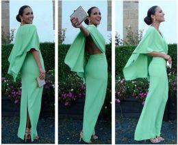 Wholesale Long Straight Lace Dress - Hot Sale Mint Blue Straight Split Prom Dresses 2017 Evening Gowns Scoop with Cape Ankle Length Vestido De Festa