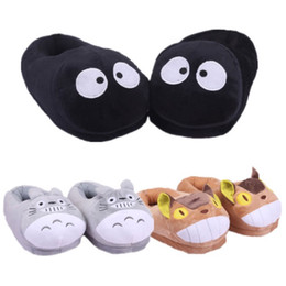 Wholesale Adult Cat Slippers - My Neighbor Totoro Cat Bus Fairydust Plush Indoor Slippers For Adults Women Men Autumn Winter Home Slippers SA1504
