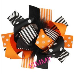 Wholesale Marabou Hair Bows Wholesale - 100pcs lot New Monster High Hair Bow for Girls Girls Big Double Layer Hairbow Marabou Orange and Black Halloween Bow