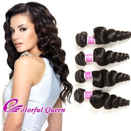 Wholesale Peruvian Hair Loose Curl - Cheap Virgin Human Hair Loose Wave 4 Bundles 400g Malaysian Virgin Hair Extensions Natural Wavy Peruvian Brazilian Indian Bouncy Loose Curl