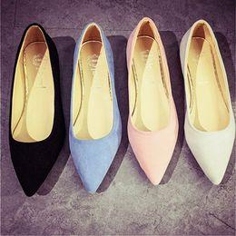 Wholesale Comfortable Dress Shoes Women - 2017 Fashion Women Shoes Woman Flats high quality suede Casual Comfortable pointed toe Rubber Women Flat Shoe Hot Sale New Flats