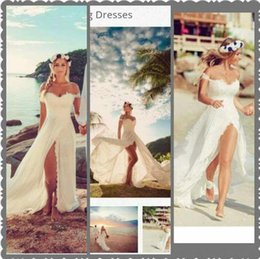 Wholesale Lace Sweetheart Wedding Dresses - Sexy Beach Wedding Dresses Sweetheart Off Shoulder Appliuqes Lace Chiffon High Split Cheap Wedding Dresses Summer Boho Wedding Dresses