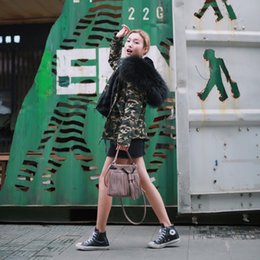 Wholesale Black Hooded Coat Women S - 2016 New Arrival Autumn and Winter Warm Women Camouflage Parka Loose Fur Parka Detachable Camouflage Coat Black Fur