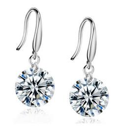 Wholesale Cheap Silver Hoop Earrings Wholesale - Wholesale Brief Style women's cheap jewelry high quality 8MM Zirconia Diamond Silver Plate platinum Korean Hoop & Huggie earrings jewelry