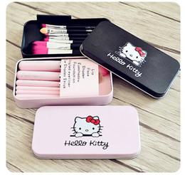 Canada 50pcs violet / rose / noir Hello Kitty MakeUp Kit de pinceaux de maquillage cosmétiques pinceaux de maquillage rose fer affaire des produits de beauté appareils de beauté 7pcs set navire libre Offre