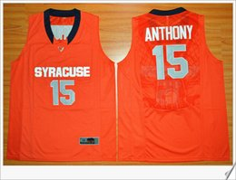 Wholesale Embroidery Sports Jerseys - Syracuse Orange team #15 Carmelo Anthony Elite Mens orange American College Stitched Embroidery basketball uniform shirts Sports Pro Jerseys