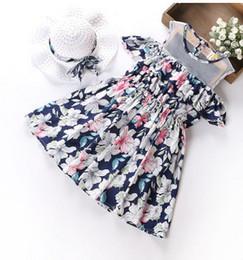 Wholesale Dress Hat Set Girls - Baby girls princess dresses kids floral printed vest dress children thru mesh dew shoulder suspender dress+hat 2 set children clothes G0035