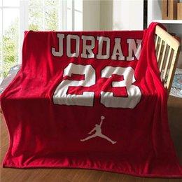 Wholesale Wholesale Fleece Sheets - Wholesale- Free Shipping Super Soft Boys Basketball Jordan Flannel Blanket Bed Sheet 130*150cm Fleece Blanket Throw on Sofa Car Travel