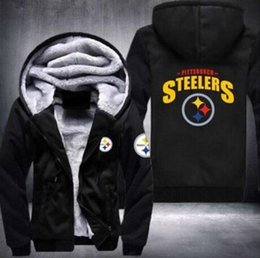 Wholesale Thick Black Cardigan - Wholesale 2018 hooded American football autumn and winter training clothes thick plus velvet zipper cardigan hooded sweater