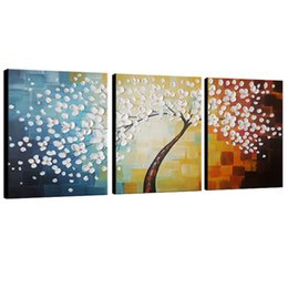 Wholesale Framing Stretched Canvas - Flower Full Blossom 100% Hand Painted 3 Panels Stretched by Framed Flower Artwork Floral Oil Paintings on Canvas Wall Art Decor
