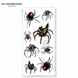 Wholesale Sexy Waterproof Temporary Tattoo - Wholesale-Sexy Black Spider 3d Temporary Tattoo Body Art Flash Tattoo Stickers 19*9cm Waterproof Car Styling Tatoo Home Decor Wall Sticker