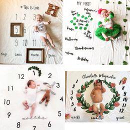 Wholesale Sheets Letters - INS Kids Blankets Winter Warm cotton Blankets infant Swaddling Letter flower digital baby bed sheet Sleeping Bag 100*100cm 12styles