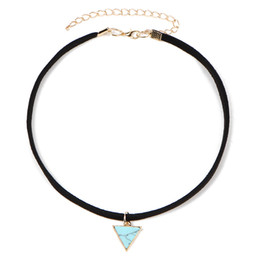 Wholesale Triangle Heart Necklace - Triangle Pendant Choker Necklace High Quality Vintage Charm Lovely Pendants & Necklaces for Women Wholesale Jewelry Free Shipping