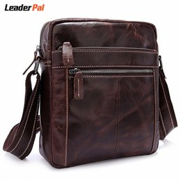 Wholesale One Shoulder Bag For Men - Wholesale-Genuine Leather Men Messenger Bags Vintage Small Crossbody Bag Handbags Crazy Horse Leather One Shoulder Bags for Men Sac A Main