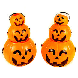 Wholesale Halloween Pumpkin Bucket - Halloween Portable Pumpkin Bucket Children Pumpkin Candy Pail Holder with 1 LED Light Hallowmas Party Deco Lamp Holiday Lighting 0601665