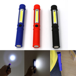 Wholesale Blue Led Driving Lights - Black Blue Red COB Led Portable Plastic Light LED Flashlight Torch Lamps With Magnetic Clip Inspection Working Light Camping Outdoor Light