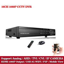 Wholesale 16 Channel Hybrid Dvr - 16 Channel AHD DVR 1080P 16CH AHD CVI TVI DVR 1920*1080 2MP CCTV Video Recorder Hybrid DVR NVR HVR 5 In 1 Alarm Security System