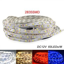 Wholesale Led Strips Lighting - 5M 2835 SMD More Brighter Than 3528 5050 SMD LED Strip light DC 12V 60LEDs M Indoor Decorative Tape White Blue Red