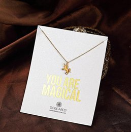 Wholesale Red Cubic Zirconia Necklace - With card! cute Necklace with little silver and gold color Unicorn (You are Magical), no fade, free shipping and high quality