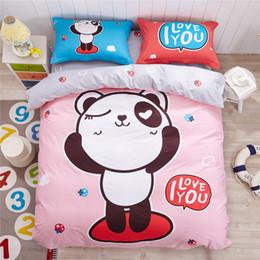 Wholesale Children Bedlinen - 100% Cotton Cute Panda Bedding Set Children Kid Cartoon Duvet Cover Pillowcase Bed Sheet Set Bedlinen Bedclothes Twin Queen Size