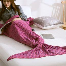 2019 manta de cama de acrílico Nuevas mantas de los niños de la llegada Mantas de ganchillo Mantas de punto de la sirena Volar alrededor de la cama de acrílico superior que duerme 140 * 70 manta de cama de acrílico baratos