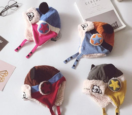 Wholesale Wool Hat Panda Ears - Baby Kids Panda Wool Cap Earflap Earcap Infant Toddler Girl Boy Cartoon Winter Warm Hat Earmuffs Beanie 0-2Y 4colors chose Christmas gift
