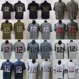 Wholesale Army Navy Game - Factory Outlet Mens NE 12 Tom Brady Black Camo Green Grey Navy White Game Stitched Football Jerseys free shipping size S-4XL from China