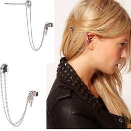 Wholesale Black Crystal Clip Earrings - Hot Sale Ear Jewelry Punk Stylish Fashion Rivet Ear Cuff Jewelry For Women Clip Alloy Rivet Tapered Earrings