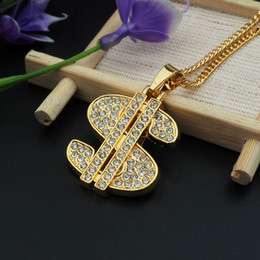 Wholesale Numbered Labels - crystal money label $ round pendant necklace hip hop gold plated necklaces with chain jewelry for men or women item number hps029