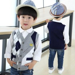 Wholesale Kids Thick Sweater - 2017 Autumn Spring New Kids Boy Sweater Vest Children Clothing Plaid Stitching Coat Baby Cotton thick top Boys Cardigan Vest