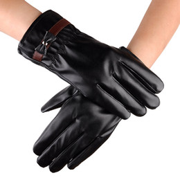 Wholesale Leather Ski Gloves Women - Fashion leather gloves women Bow Gloves Winter Warm Touch Screen Thermal Motorcycle Ski Snow Snowboard Gloves Mittens Cashmere Gifts 2017