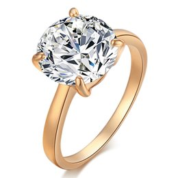 Wholesale Round Engagement Rings - Sim18K Yellow Gold Plated Sparky AAA Clear Crystal Ring Luxury Big Round Crystal CZ Ring For Women for Engagement Wedding Party J0343