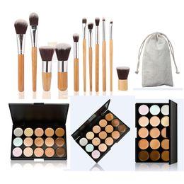 paleta 15 piezas Rebajas Al por mayor-Alta calidad nueva paleta Corrector de 15 colores + 11 piezas maquillaje Pinceles maquillaje conjunto cosméticos herramientas para mujeres M02408