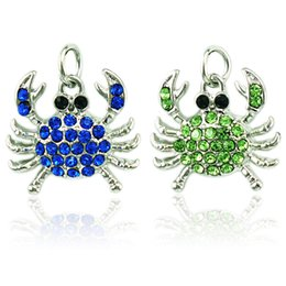 Wholesale Silver Crab Charm - Fashion Charms Alloy Clasp 2 Color Rhinestone Crab Animals Pendants DIY Charms For Jewelry Making Accessories