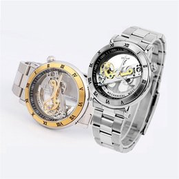 Wholesale Mechanical Ik - Luxury brand IK Solid Stainless Steel 50 M Dive Swimming Waterproof Transparent Skeleton Business Men's Automatic Mechanical Watch free DHL