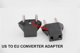 Wholesale Usa European Plug Adapter - 10PCS Lot Universal US to EU Travel Converter EU to USA AC Power Plug Power Charger Adapter USA to European Black Plastic Travel Converter
