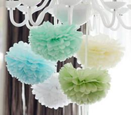 Wholesale Color Sky Lanterns - Wholesale-15cm=6 inch Tissue Paper Flowers paper pom poms balls lanterns Party Decor Craft Wedding multi color option whcn+