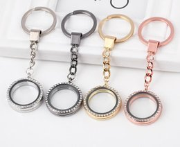 Wholesale Girl Accessories For Cars - Hot Sale 2017 Easter Round Locket Key Chains Glass Living Memory Floating Locket with Rhinestone DIY Accessories for Women Kids