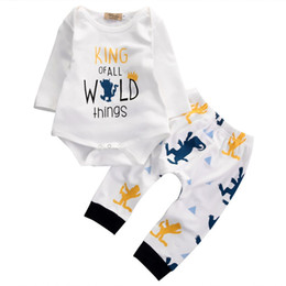 Wholesale Girls Cotton Harem Pants - NWT 2017 New cute Baby Girls Boy 2piece Outfits Sets Cotton Monster Romper Onesies Diaper covers + Harem Pants - King of All wild things