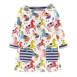 2019 vestiti da partito di cotone per i più piccoli Cute Pony stampato Baby Girls Dress Primavera Autunno cotone compleanno Party Dress Moda bambino Boutique Abbigliamento vestiti da partito di cotone per i più piccoli economici