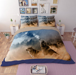 Wholesale Cartoon Animal Pillowcases - 3D Animal Wolf, lion,tiger, leopard 3 4pcs Bedding Sets Queen King Twin Full Size Duvet Cover Bedsheet Pillowcase Bedclothes Sets